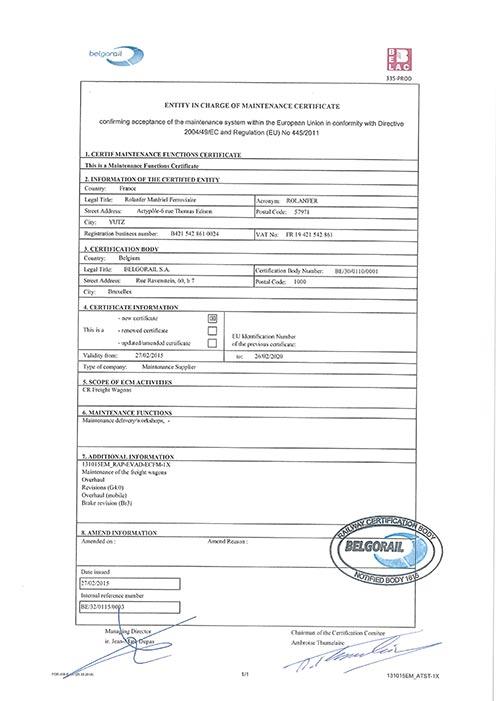 Certificat Belgorail