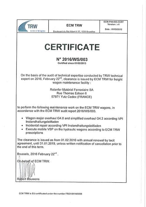 Certificat TRW